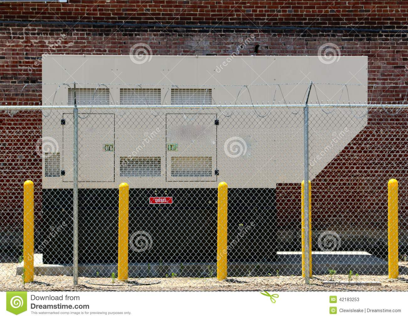Tan diesel powered generator stock photo image 42183253 for Chain link fence planner