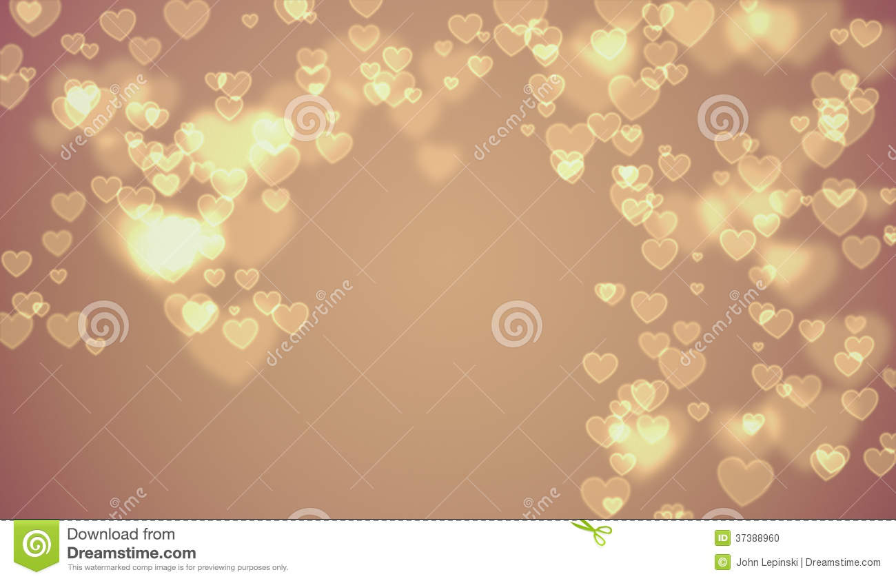 Tan Gold Valentine Hearts Background Stock Photo Image