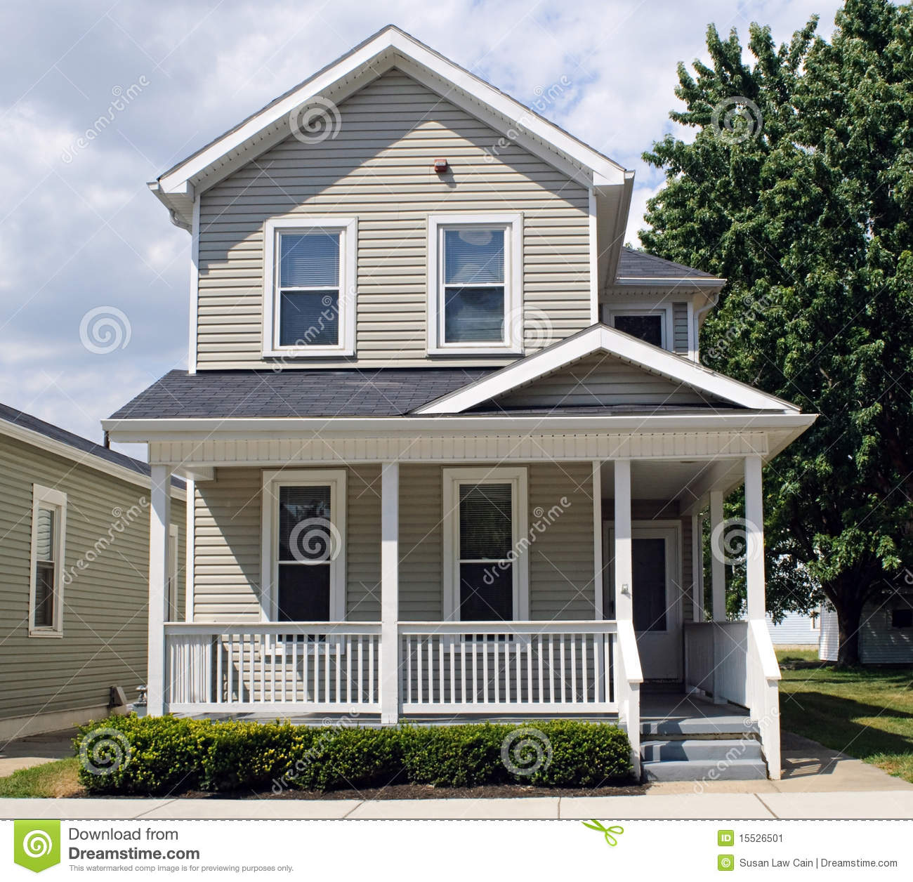 Tan house with porch stock image image of american for Porch homes