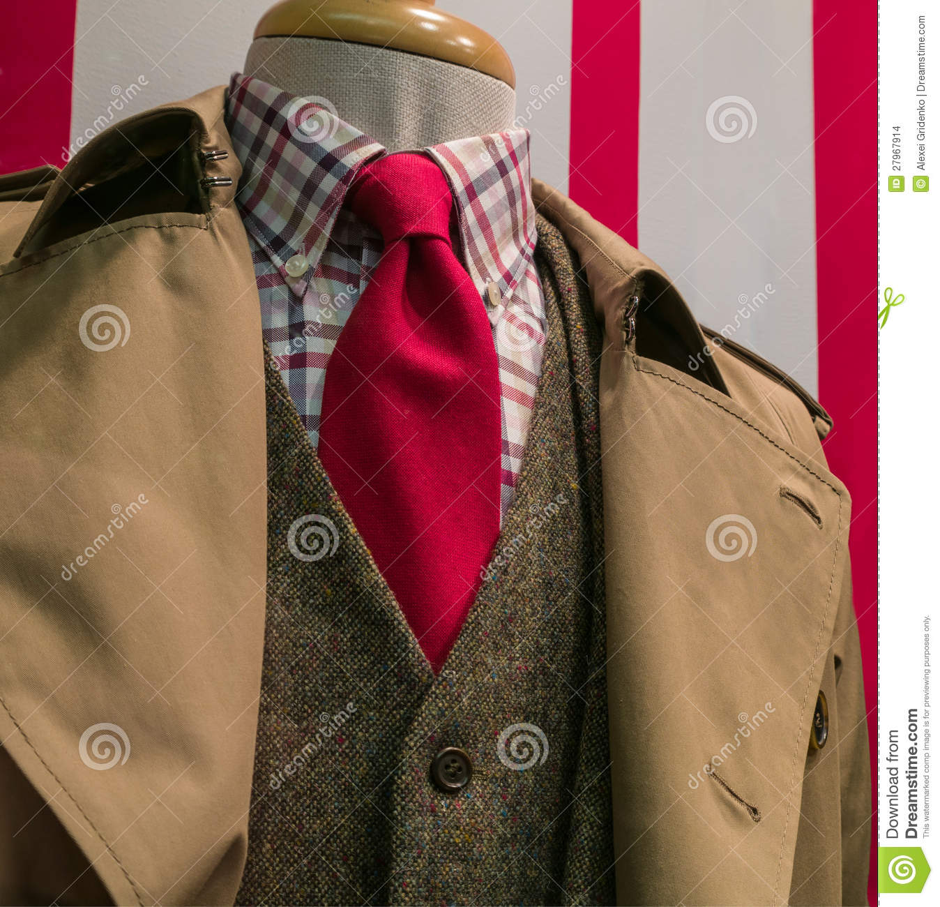 Brown Jacket With Checkered Shirt And Red Tie Stock Photo - Image
