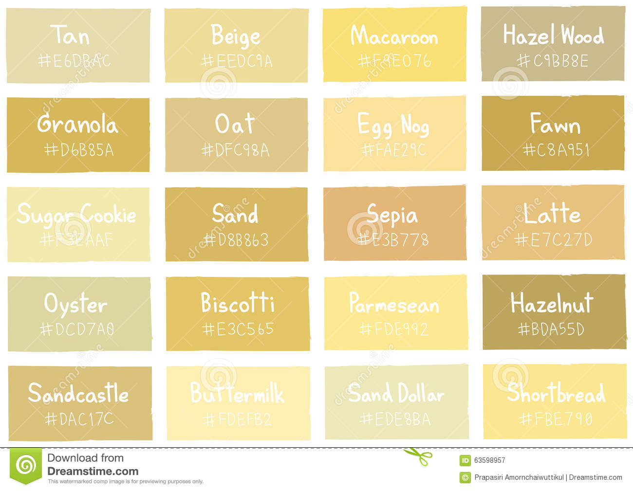 Tan Tone Color Shade Background With Code And Name Stock