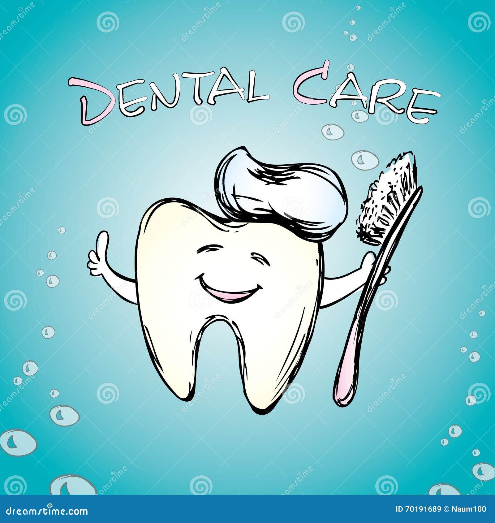 Tand med en tandborste som ler
