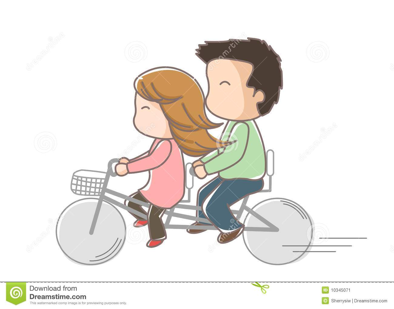 Tandem Bicycle A Couple Of Lovers Ride On Stock Image