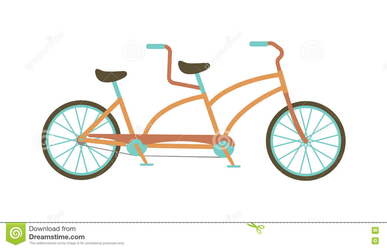 Tandem Bike Vector Illustration. Stock Vector - Image ...