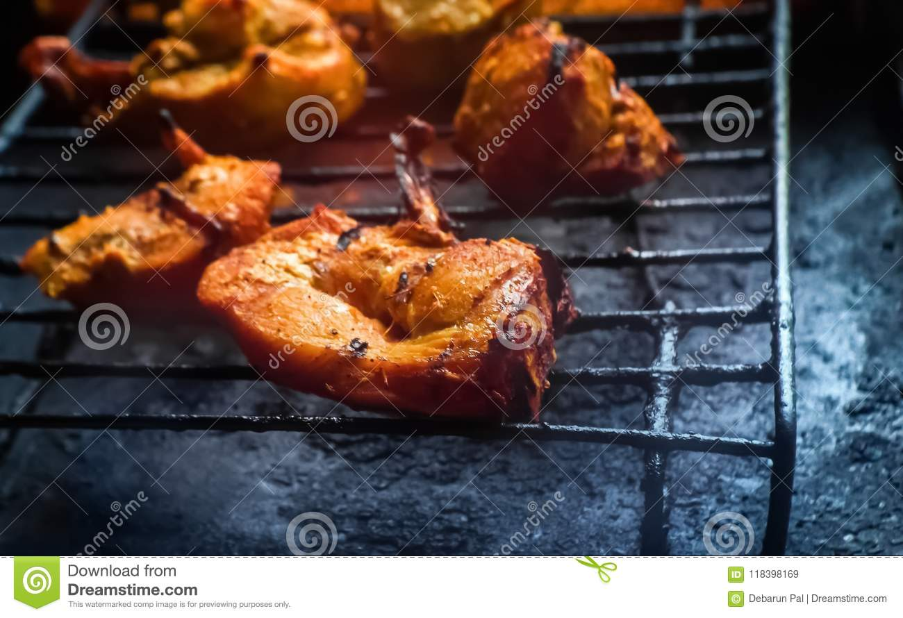 A Tandoori Appetizer BBQ Grilled / Roasted Chicken Breast Pieces Snack