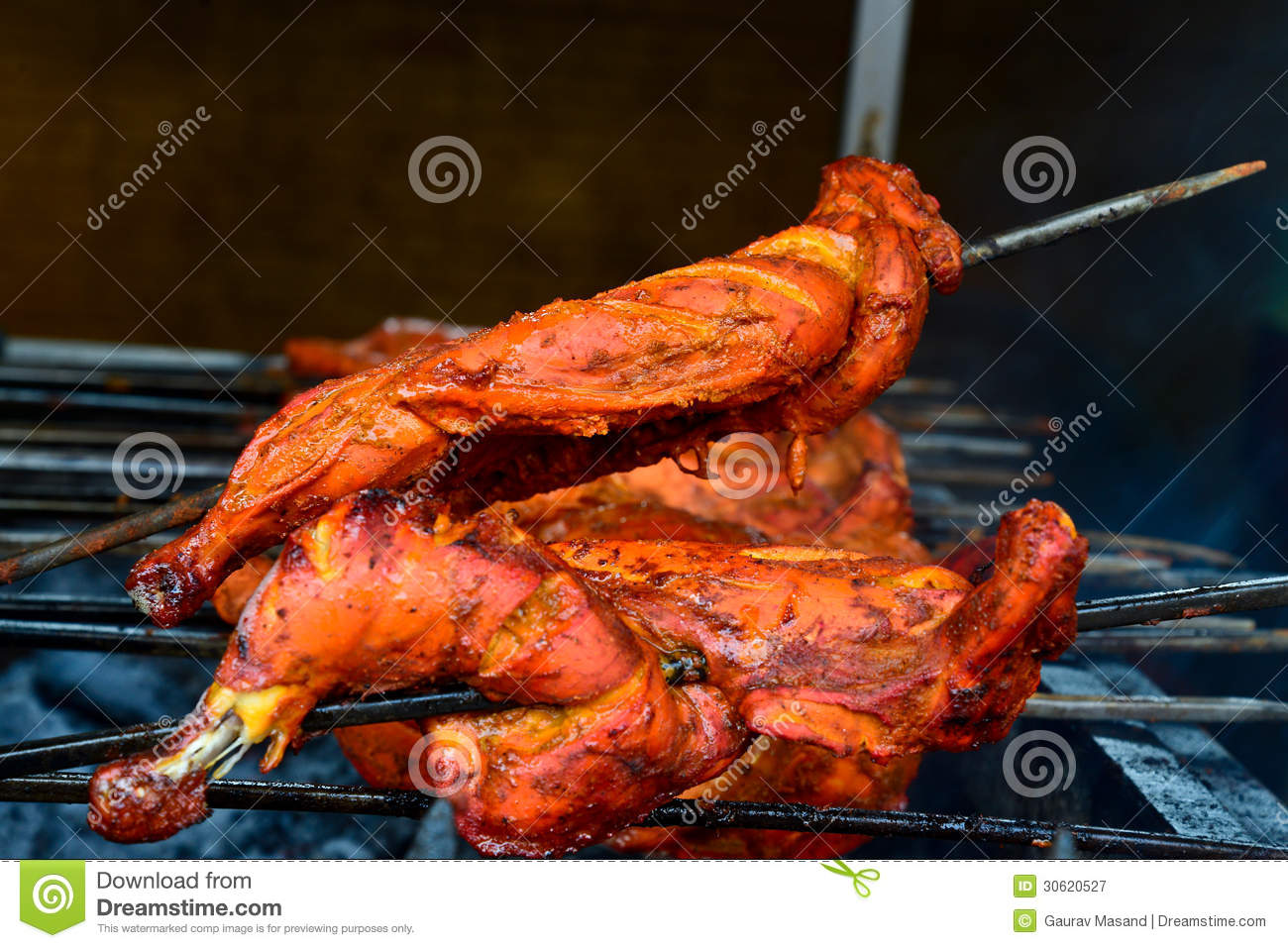 Tandoori Chicken on a grill