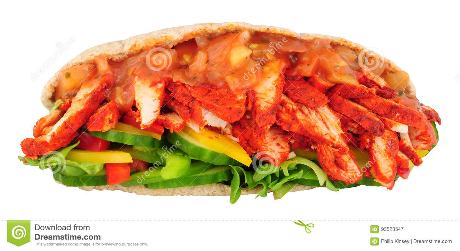Tandoori Chicken Pitta Bread Sandwich