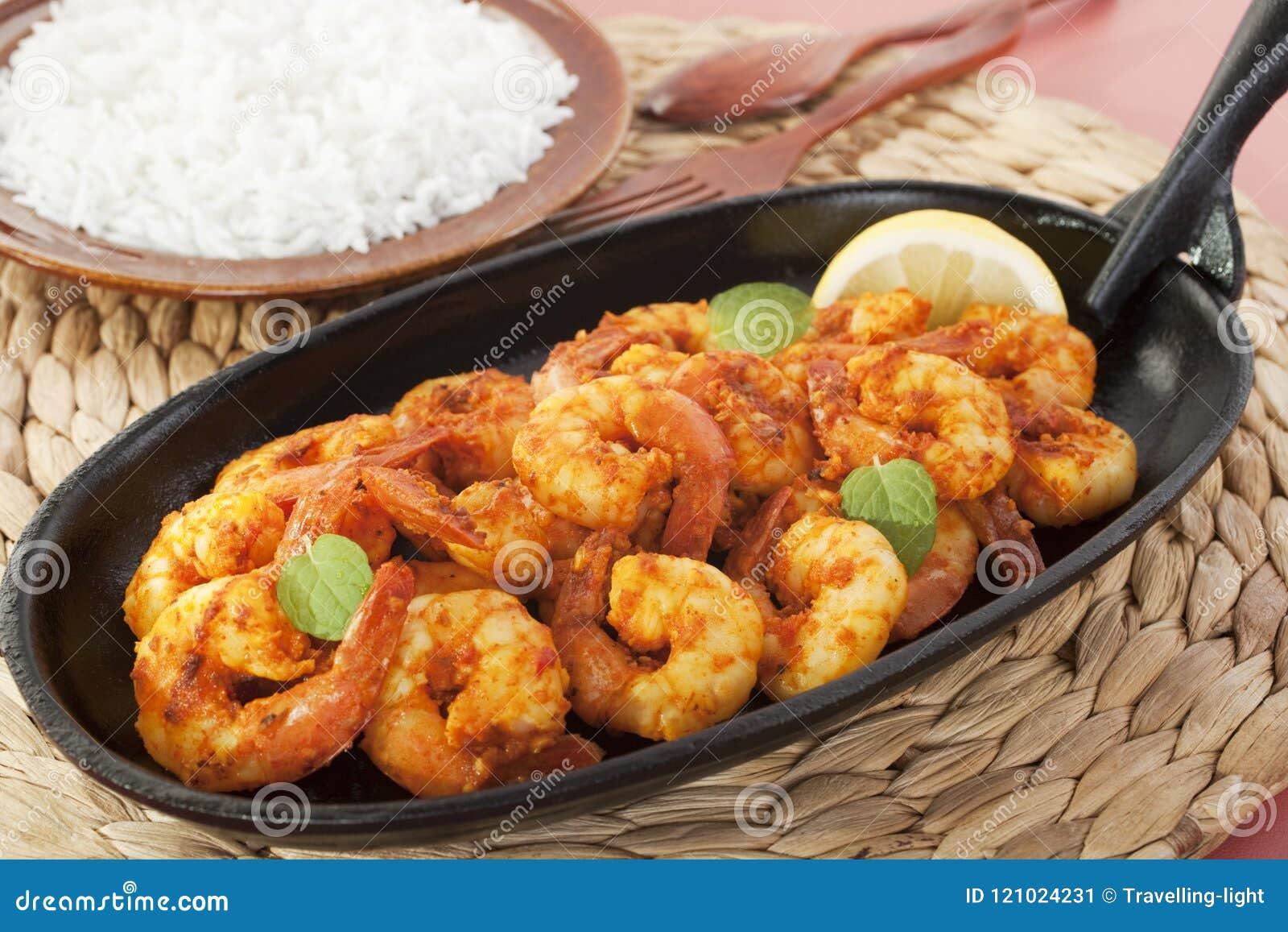 Tandoori Prawns Shrimp Indian Curry Food Meal