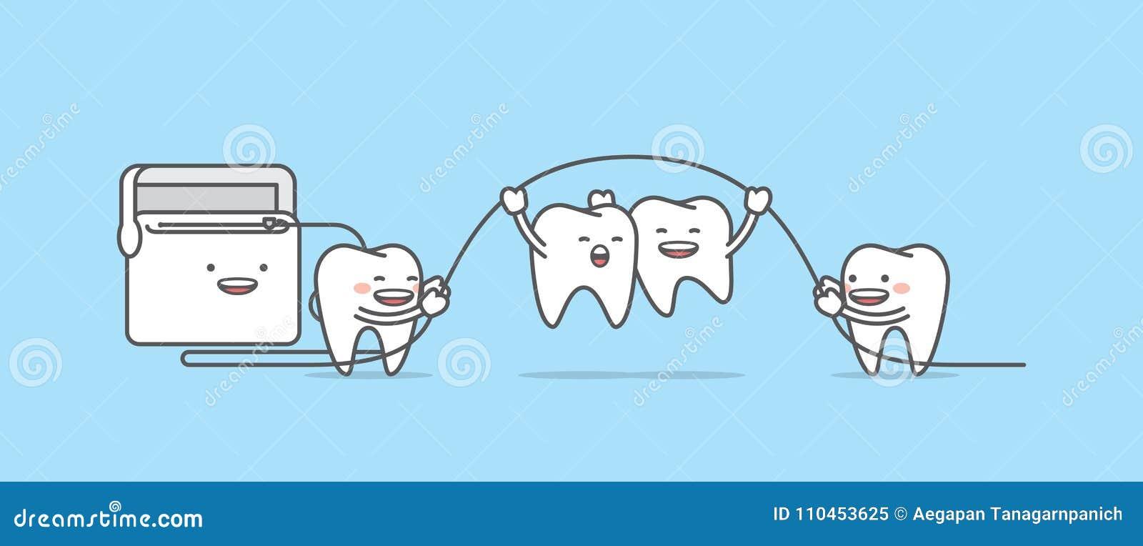 Tandtecken som hoppar upp med flossillustrationvektorn på blått
