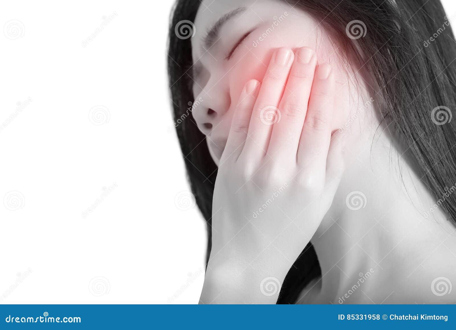 Tandvärktecken i en kvinna som isoleras på vit bakgrund Snabb bana på vit bakgrund