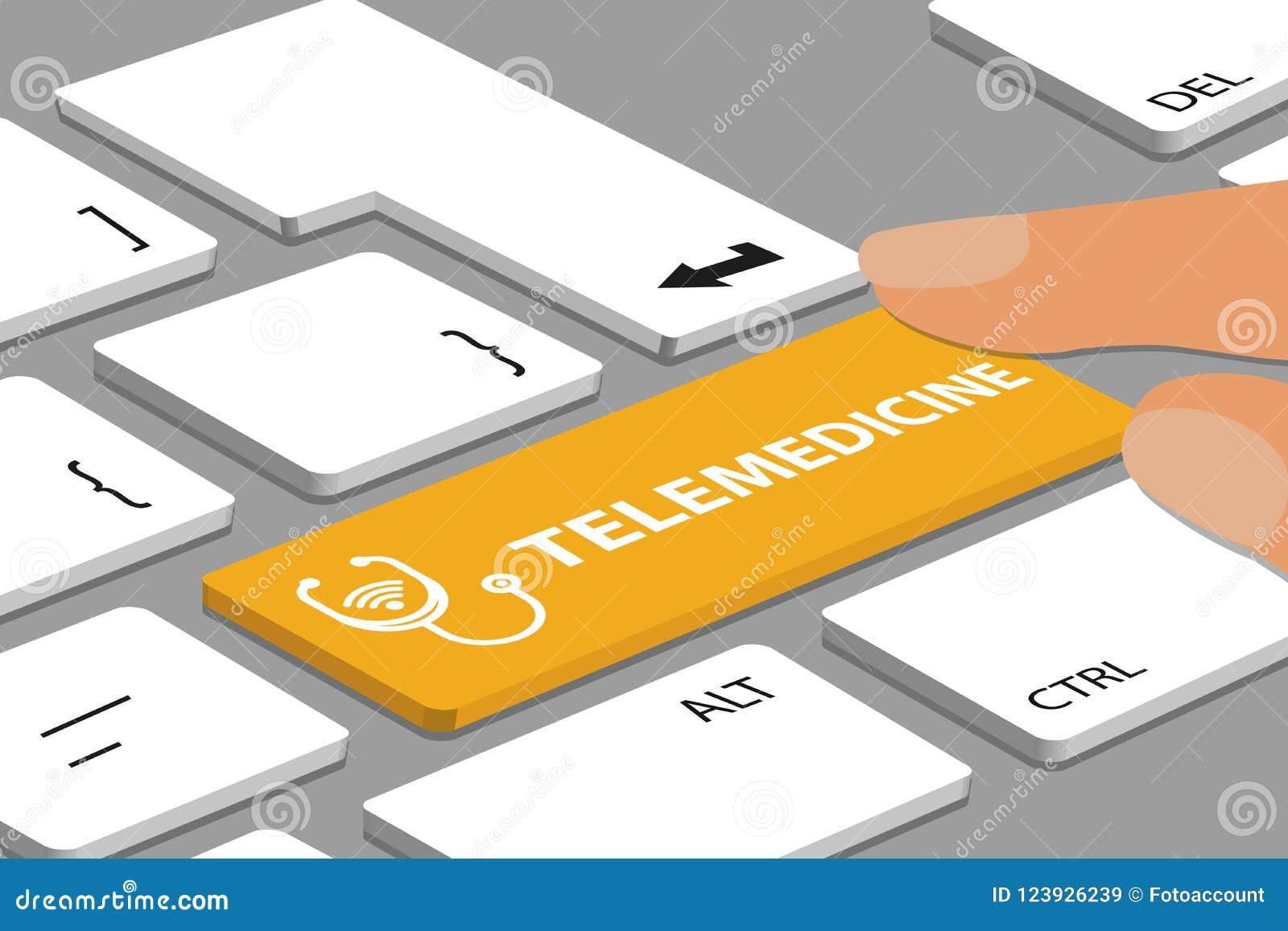Tangentbord med den gula Telemedicineknappen - datoren eller bärbara datorn med fingrar - vektorillustration