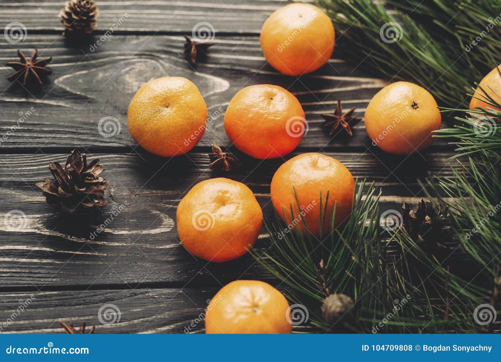 Tangerinas e ramos anis do abeto e cones do pinho no woode rústico
