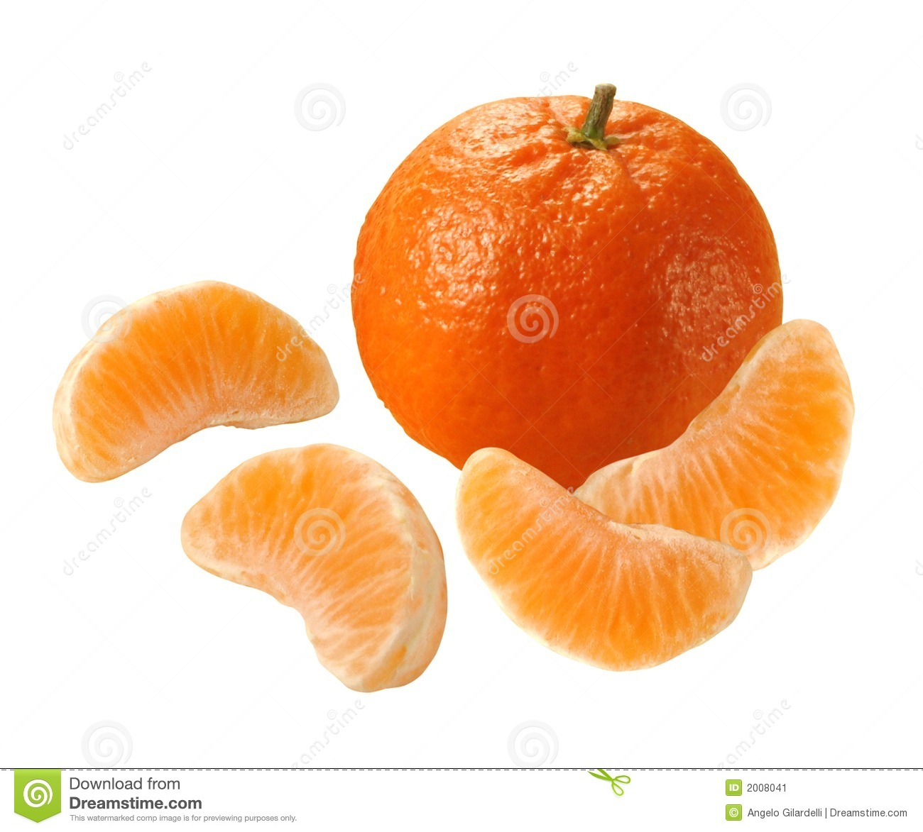 Tangerine with four segments isolated over white.