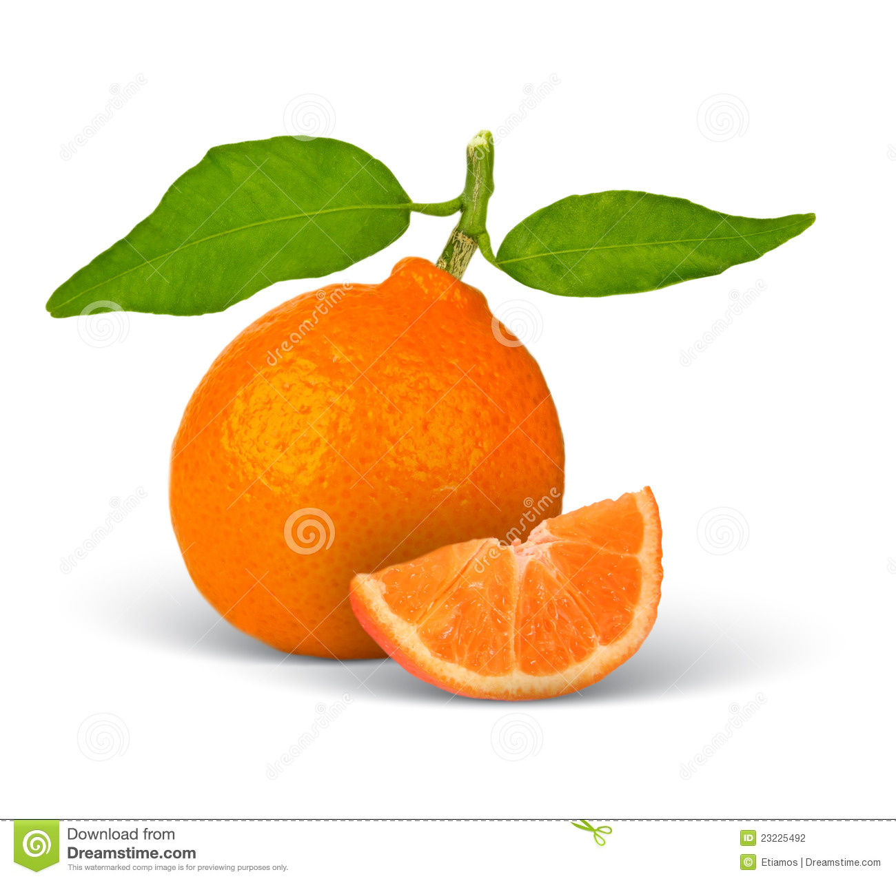 Tangerine with leaves and slice isolated on white.