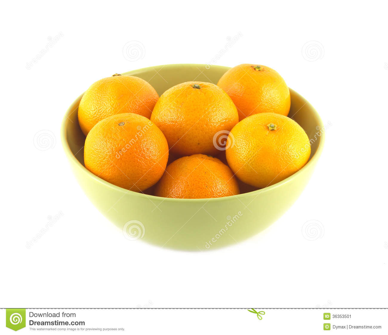 Tangerines in green china bowl isolated