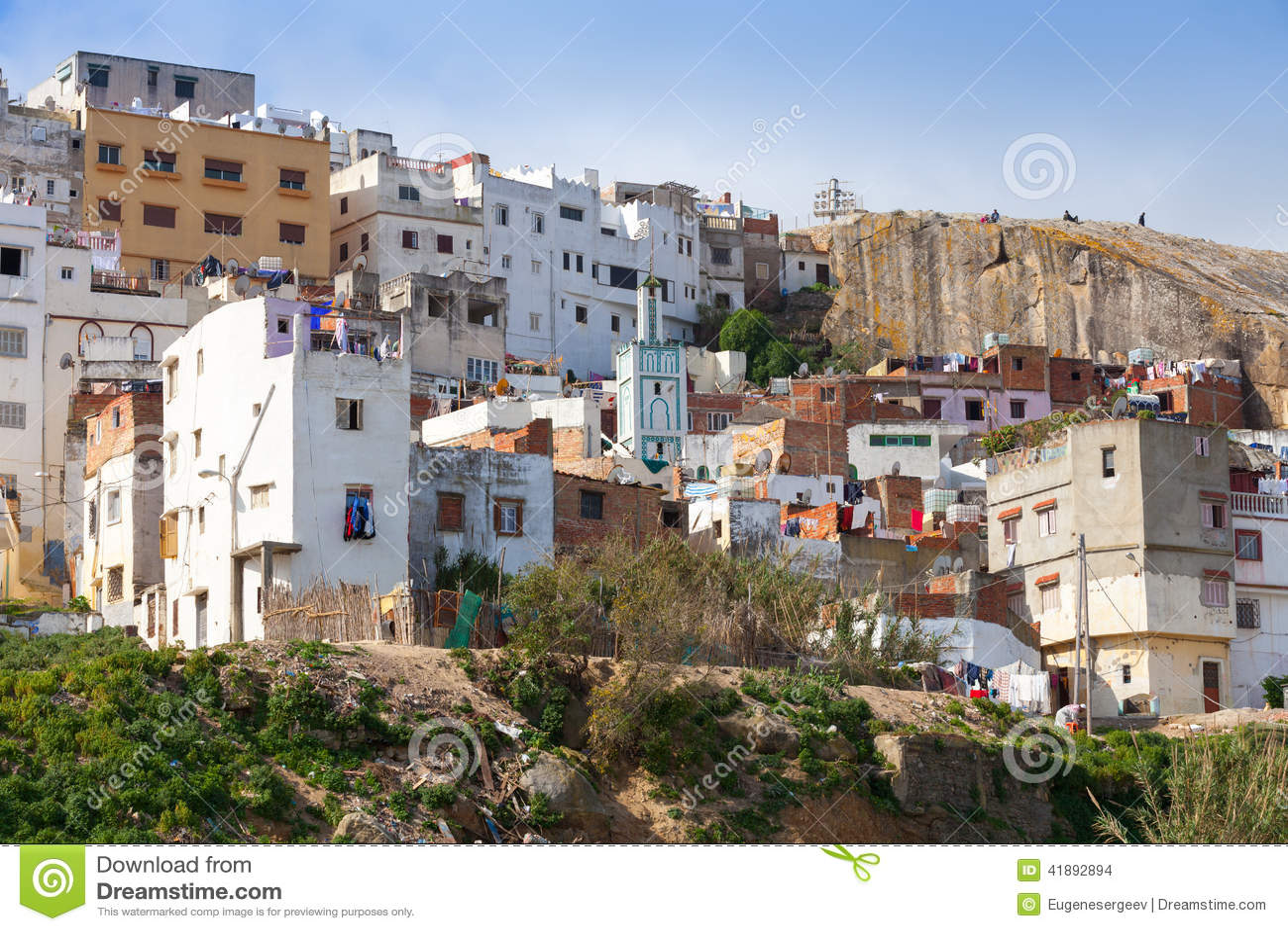 tangier marokko alte bunte lebende h user von medi stockfoto bild 41892894. Black Bedroom Furniture Sets. Home Design Ideas