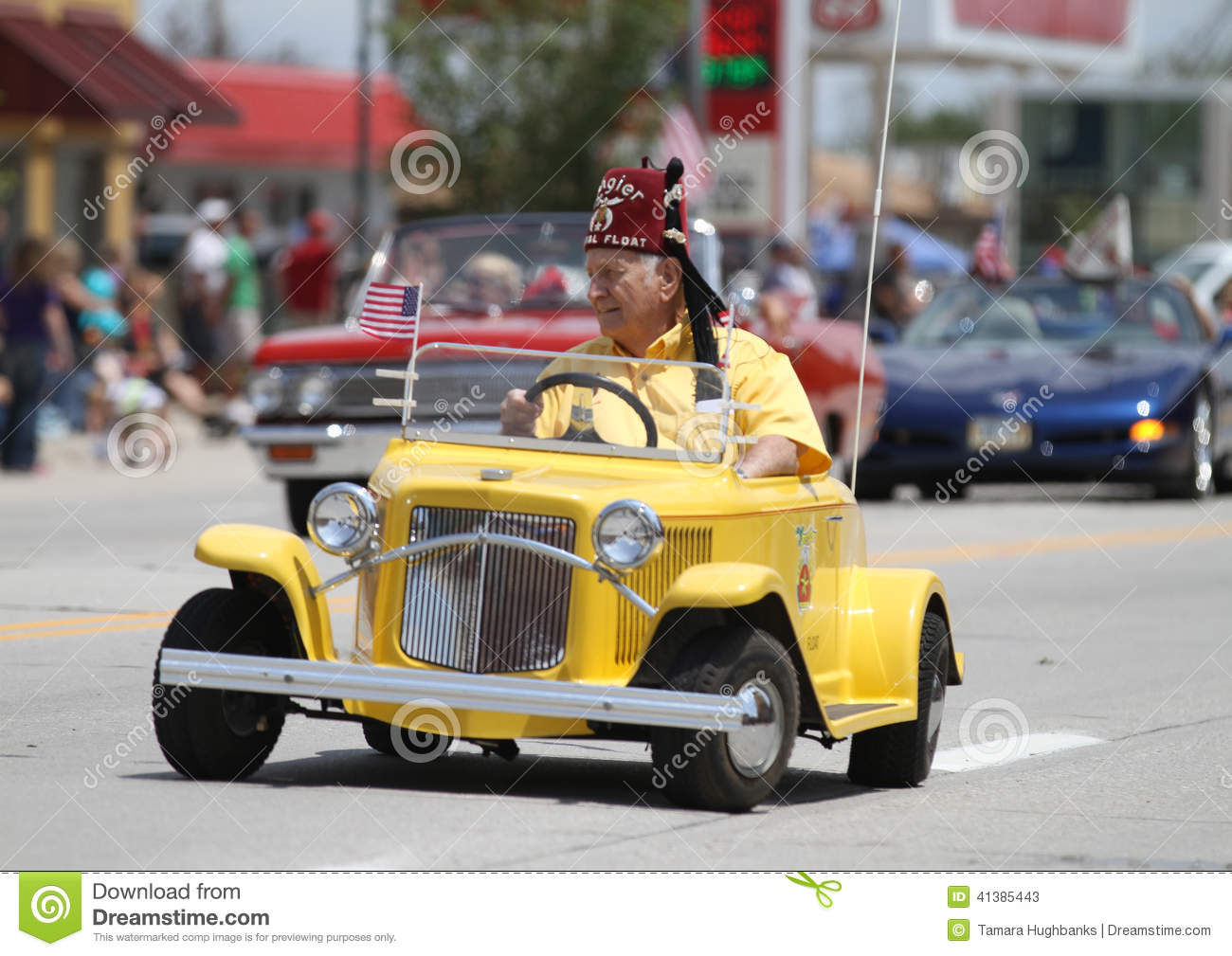 Tangier Shriner In Small Car Parade Town America Editorial