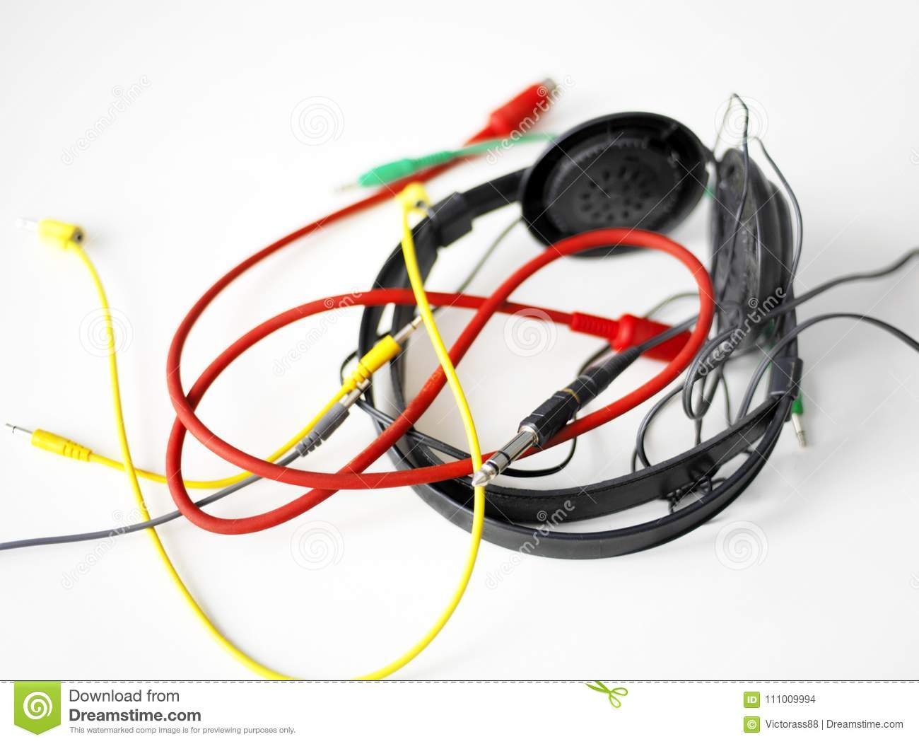 Tangled Audio Cables Stock Photo Image Of Messy Gray 111009994 Cable Wiring