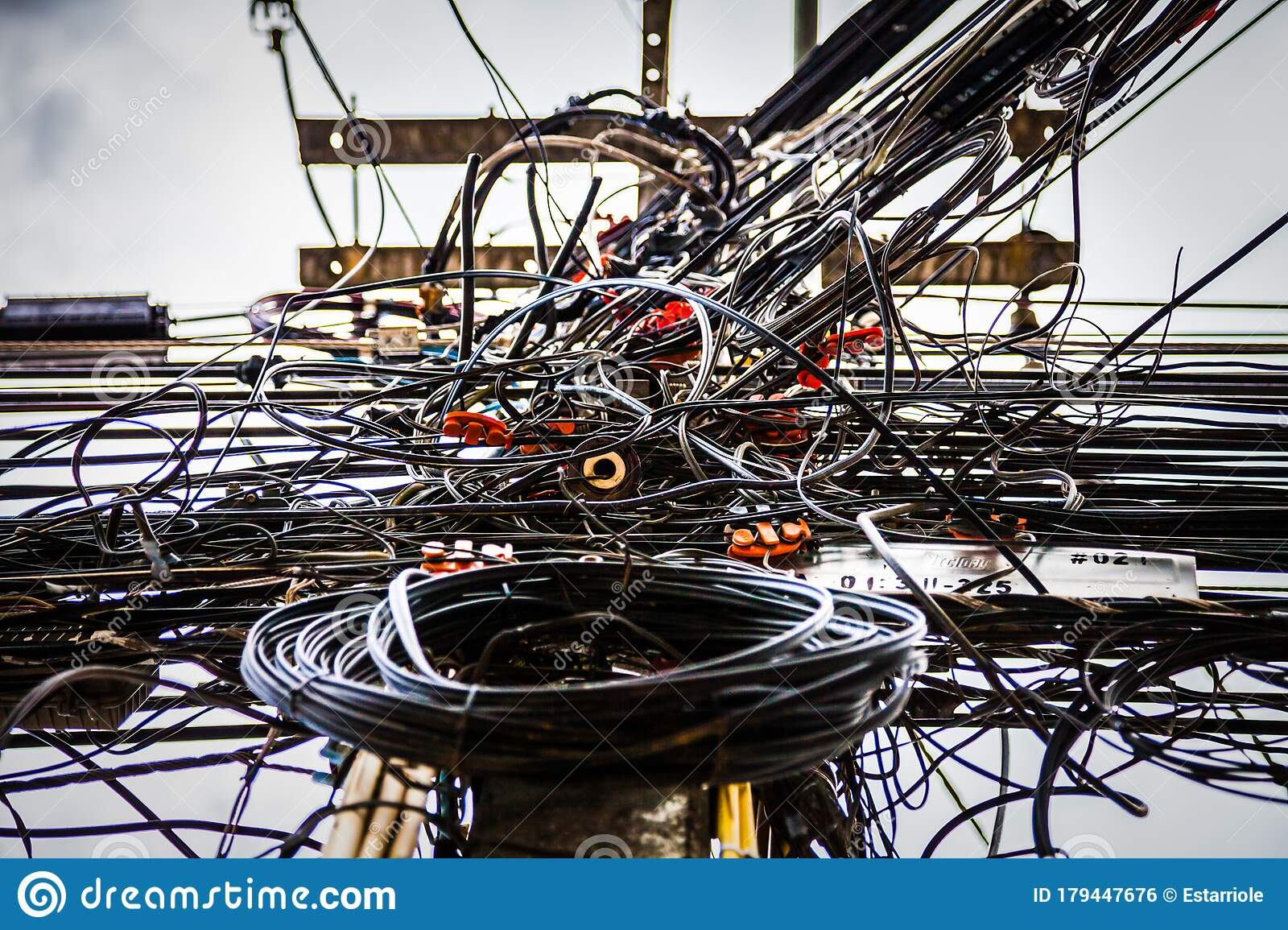 Tangled Electrical Wires On Urban Electric Pole Stock Photo Image Of Communication Safety 179447676