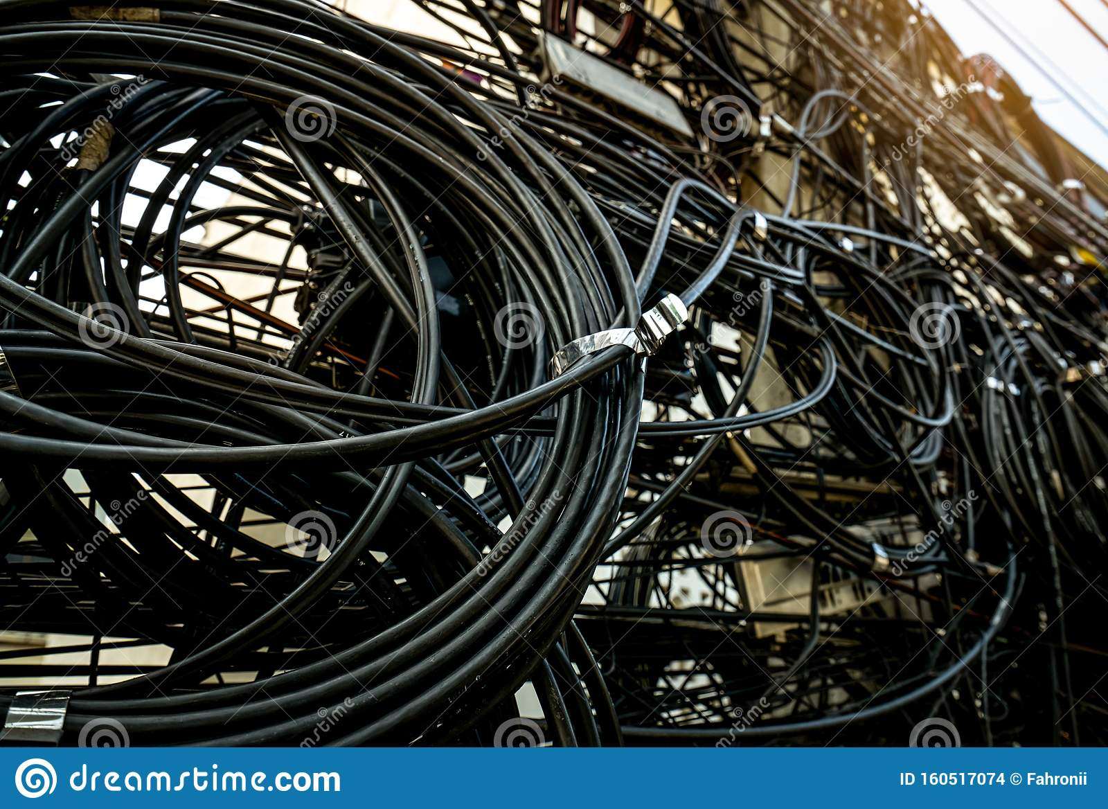 Tangled Electrical Wires On Urban Electric Pole Disorganized And Messy To Organization Management Concept Closeup Tangled Stock Photo Image Of Authority Communication 160517074