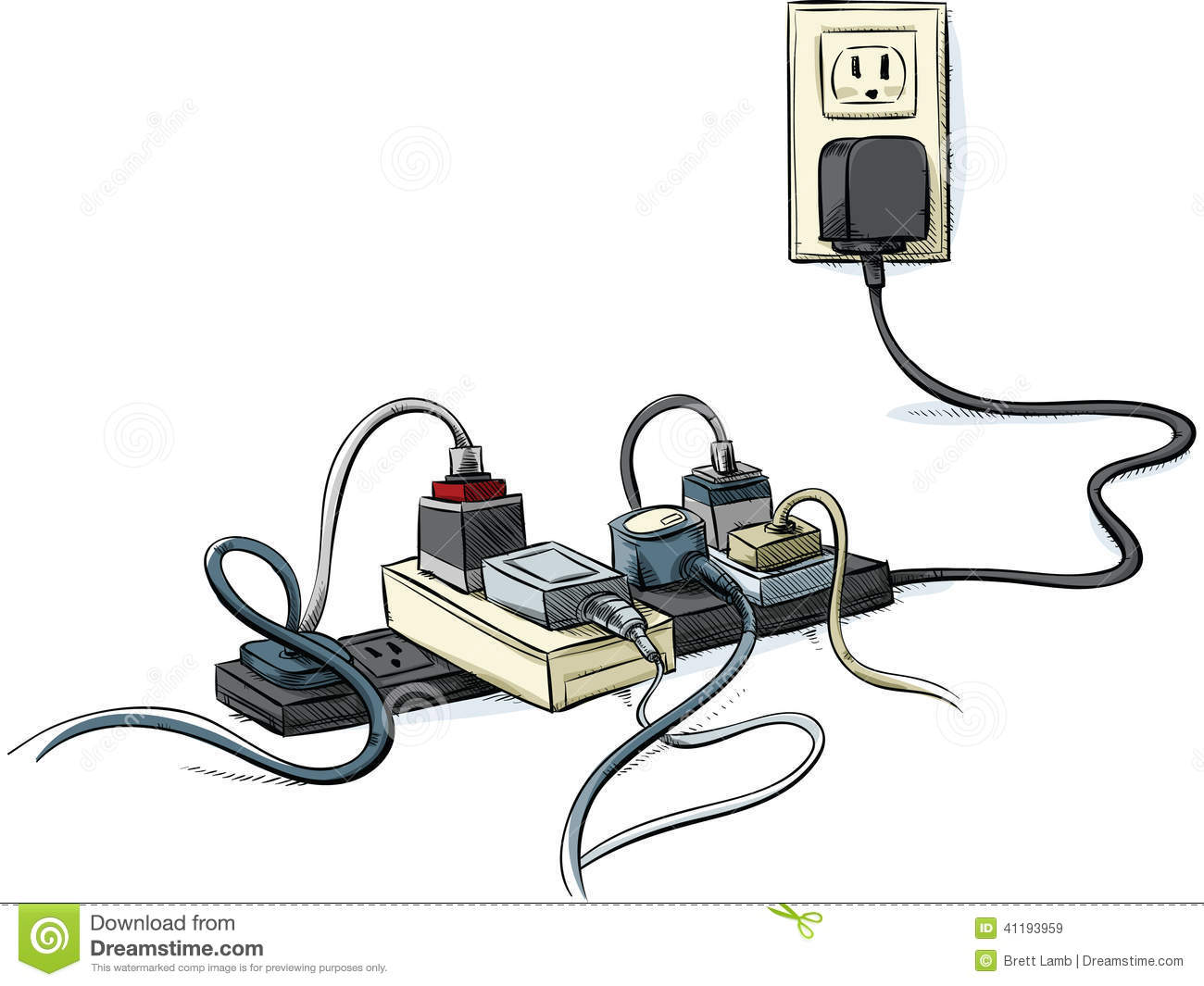 Cartoon Electrical Wire : Tangled power cords stock illustration of