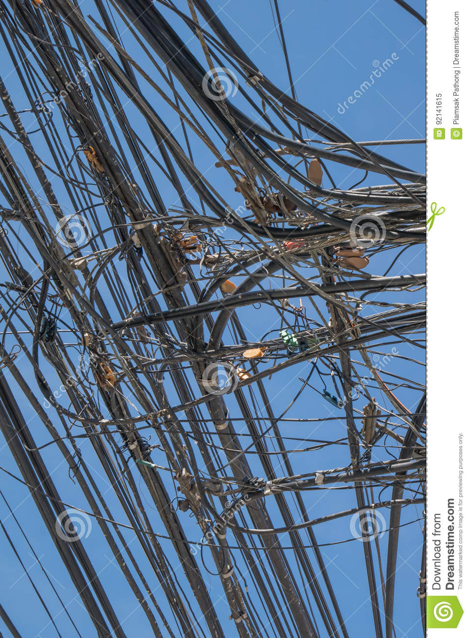Tangled up electric wires stock image. Image of fire - 92141615