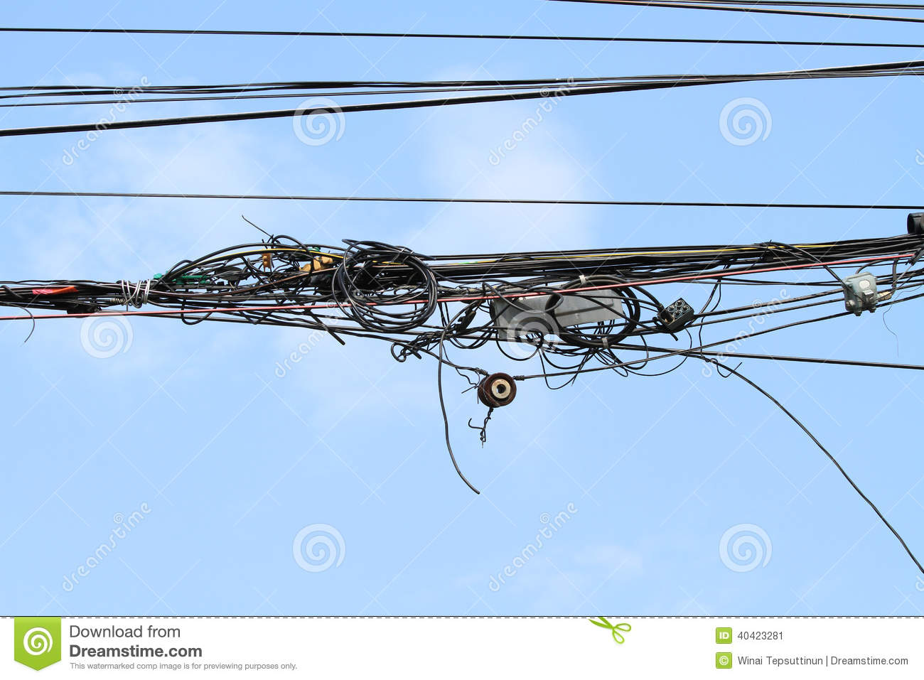 Tangled Wires Stock Image Of Outdoor Electrical 40423281 Wiring Sky Box And Telecommunication Junction With Blue