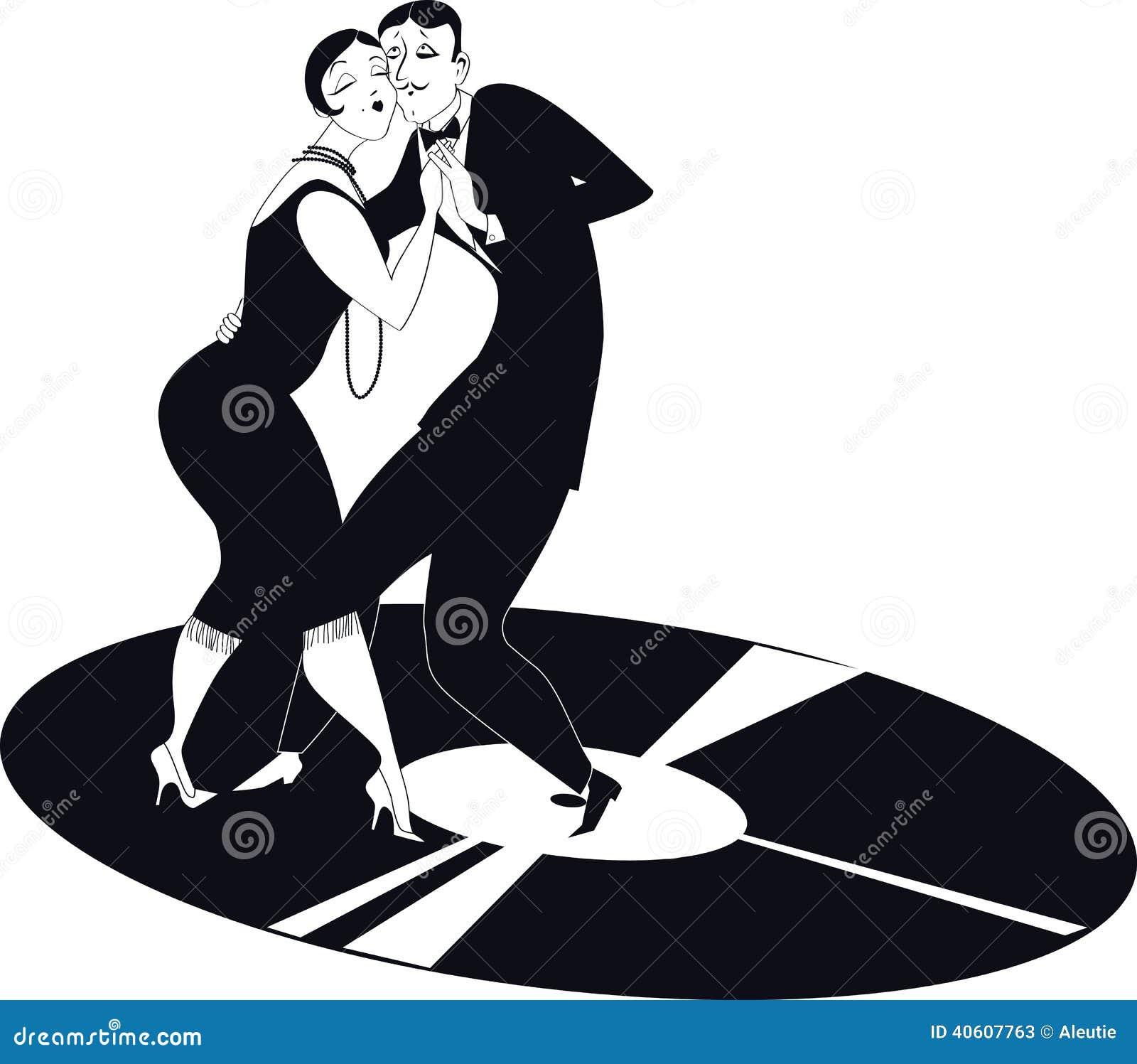 Tango De Danse De Couples Sur Un Disque Vinyle