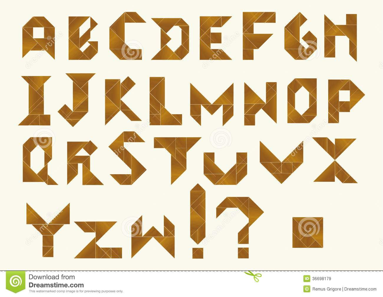 Tangram Alphabet - Cdr Format Royalty Free Stock Images - Image ...