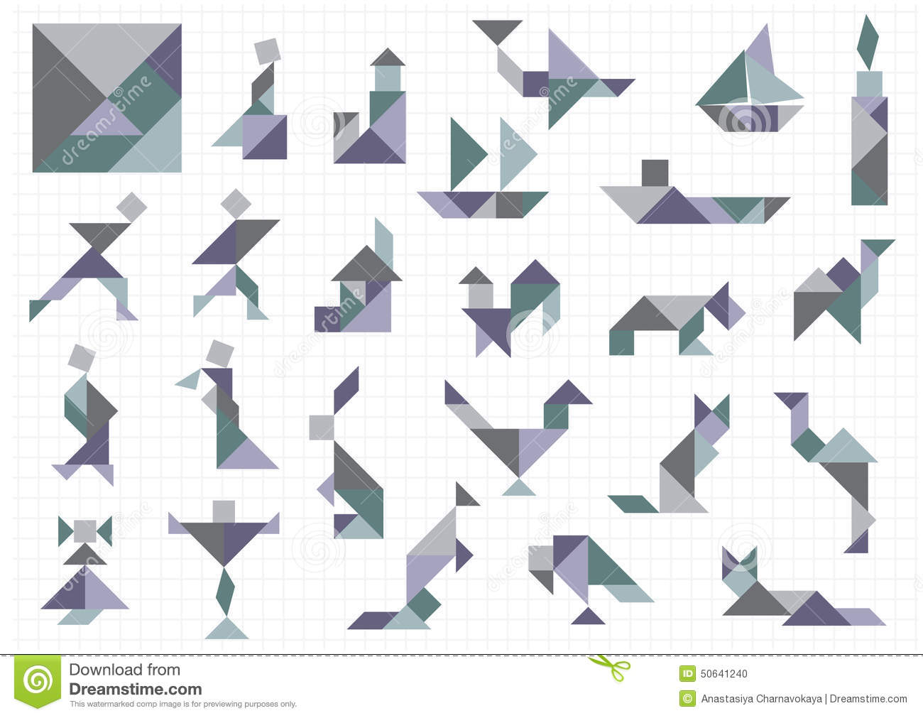 Tangram Objects Stock Vector Image 50641240