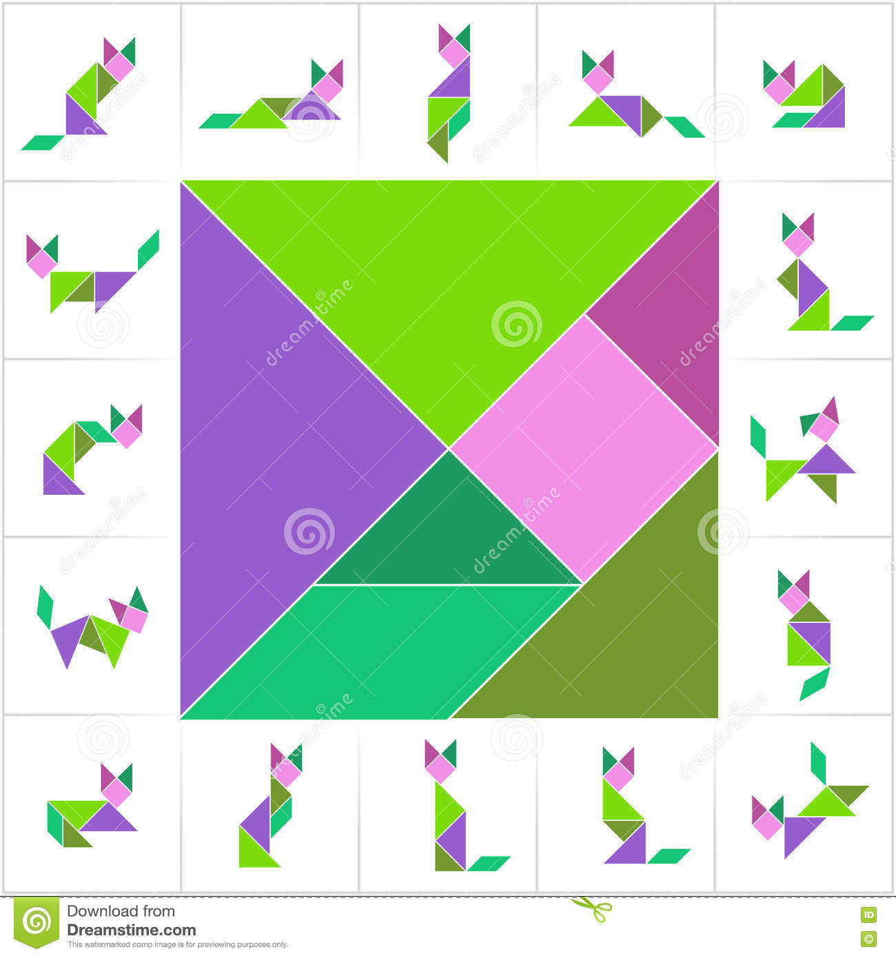 graphic about Printable Tangram Pieces called Tangram established, cats inventory vector. Example of small children - 72477142