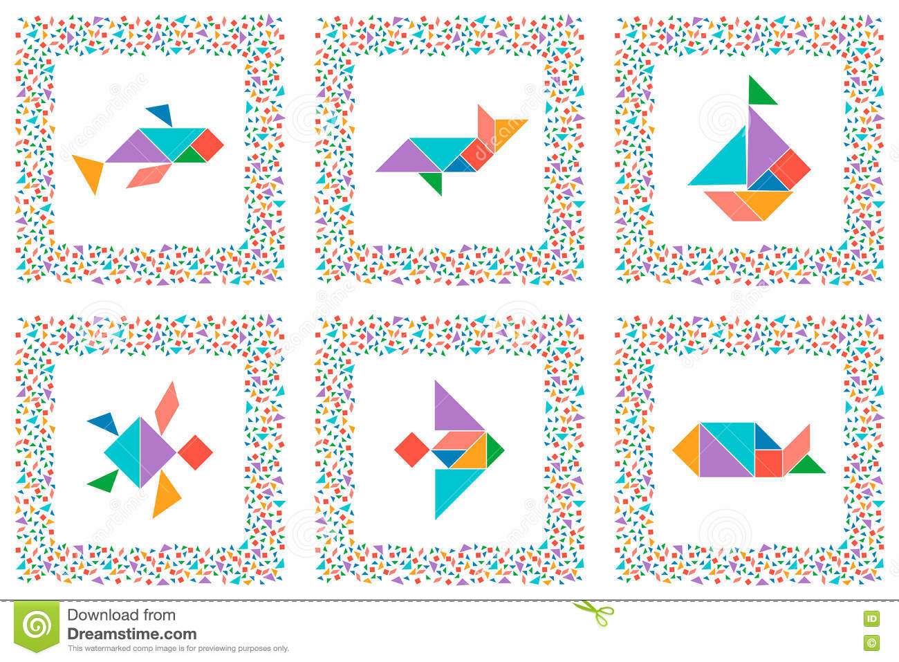 image regarding Printable Tangram Puzzles named Tangram Fixed, Sea Pets, Fishes, Sailboat Inventory Vector