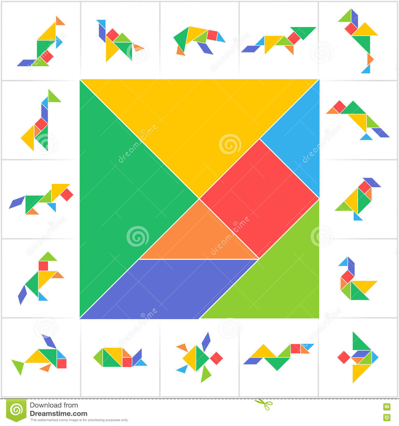 graphic relating to Printable Tangram known as Tangram Preset, Wild Pets, Birds, Amphibians And Fish Inventory
