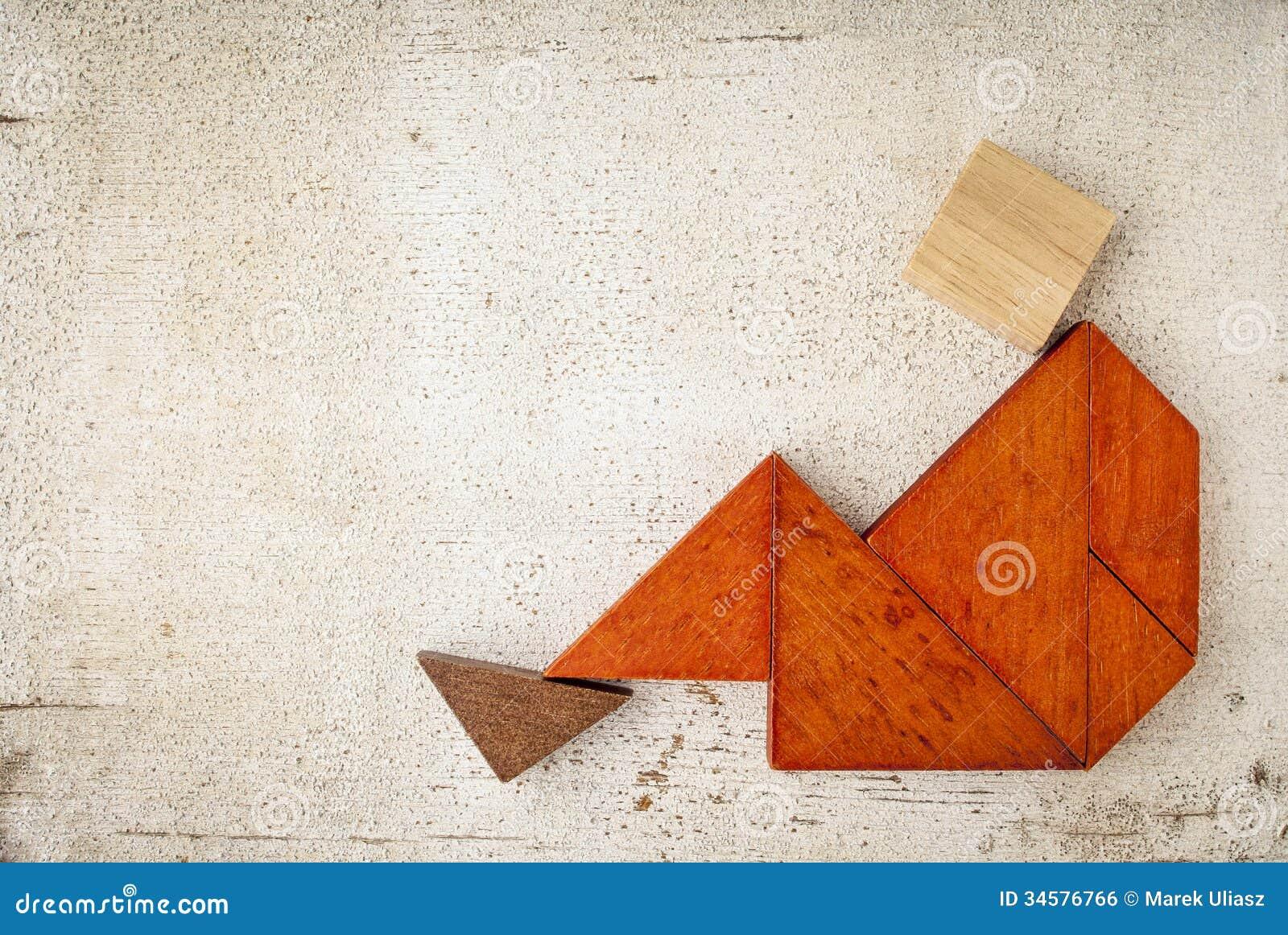 Tangram Sitting Figure Stock Photo Image Of Wood Grunge