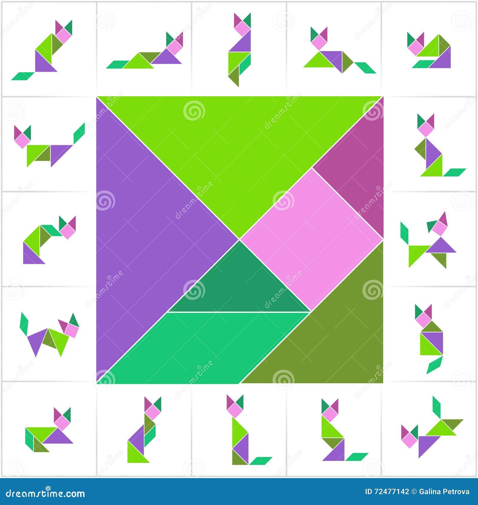 tangramsatz, katzen vektor abbildung. illustration von