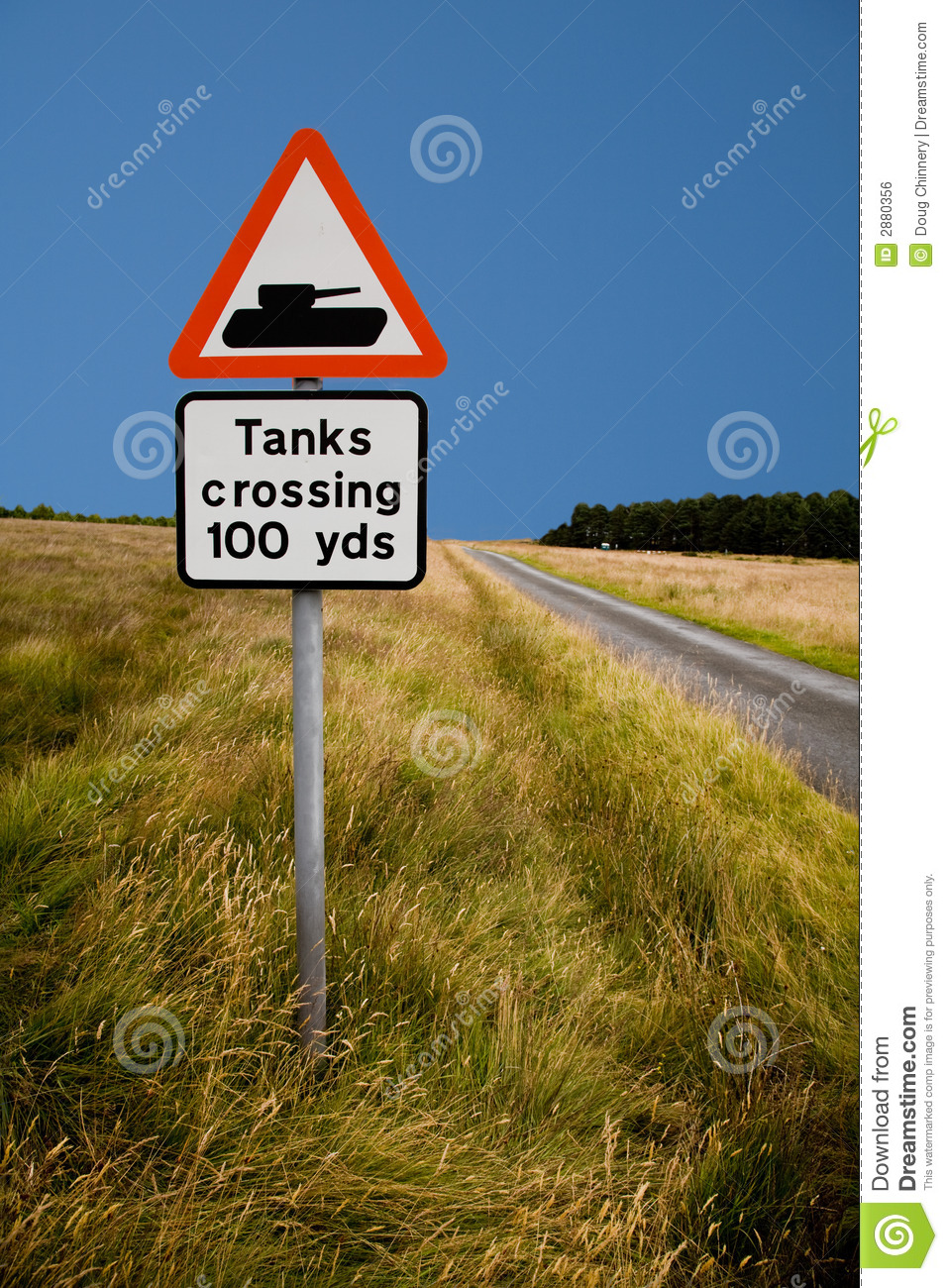 tank crossing road sign royalty free stock image