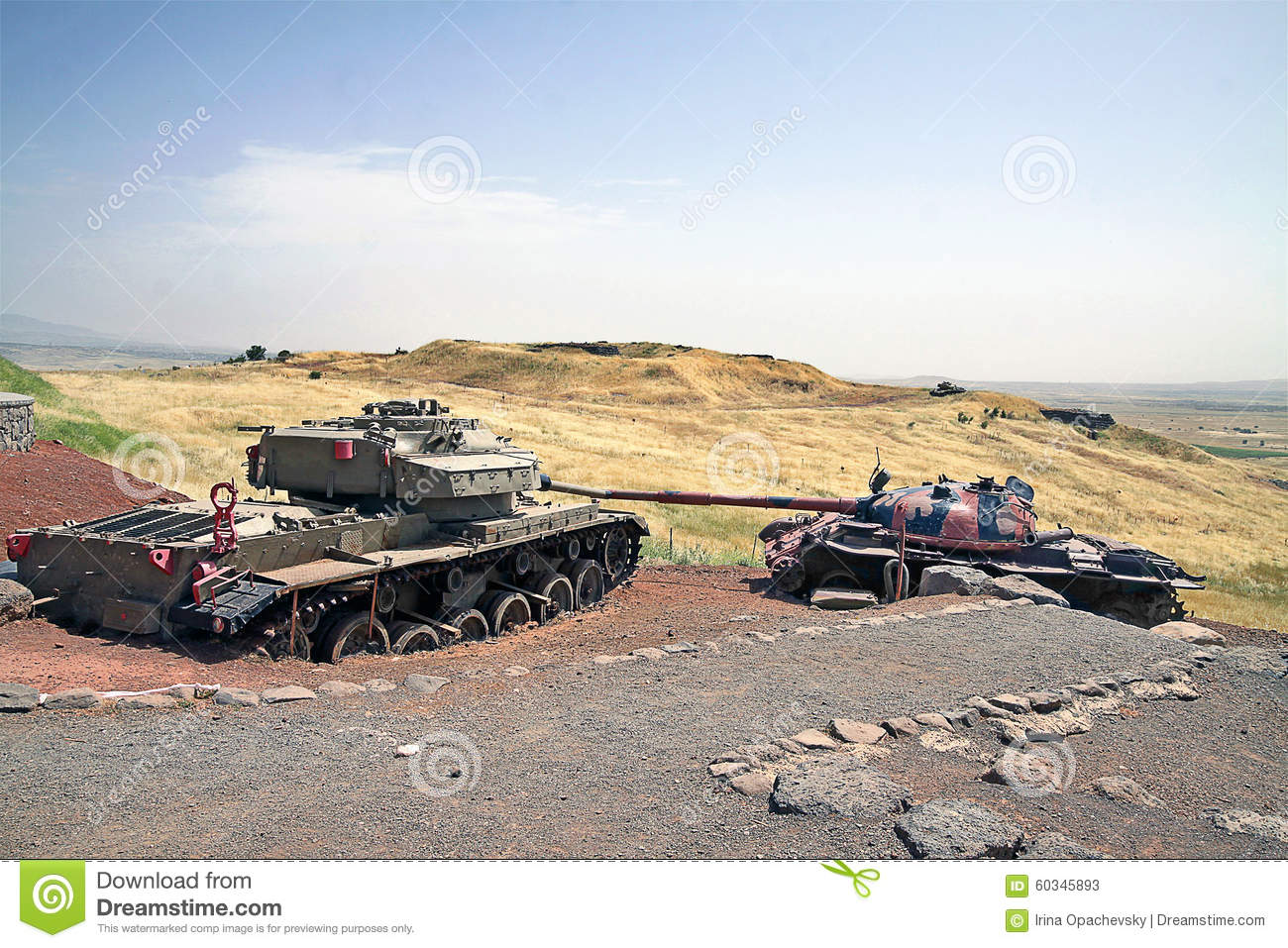 TANK BATTLE GOLAN HEIGHTS BATTLEFRONT, SYRIA