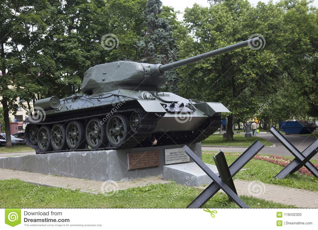 The tank on a pedestal in moscow russia