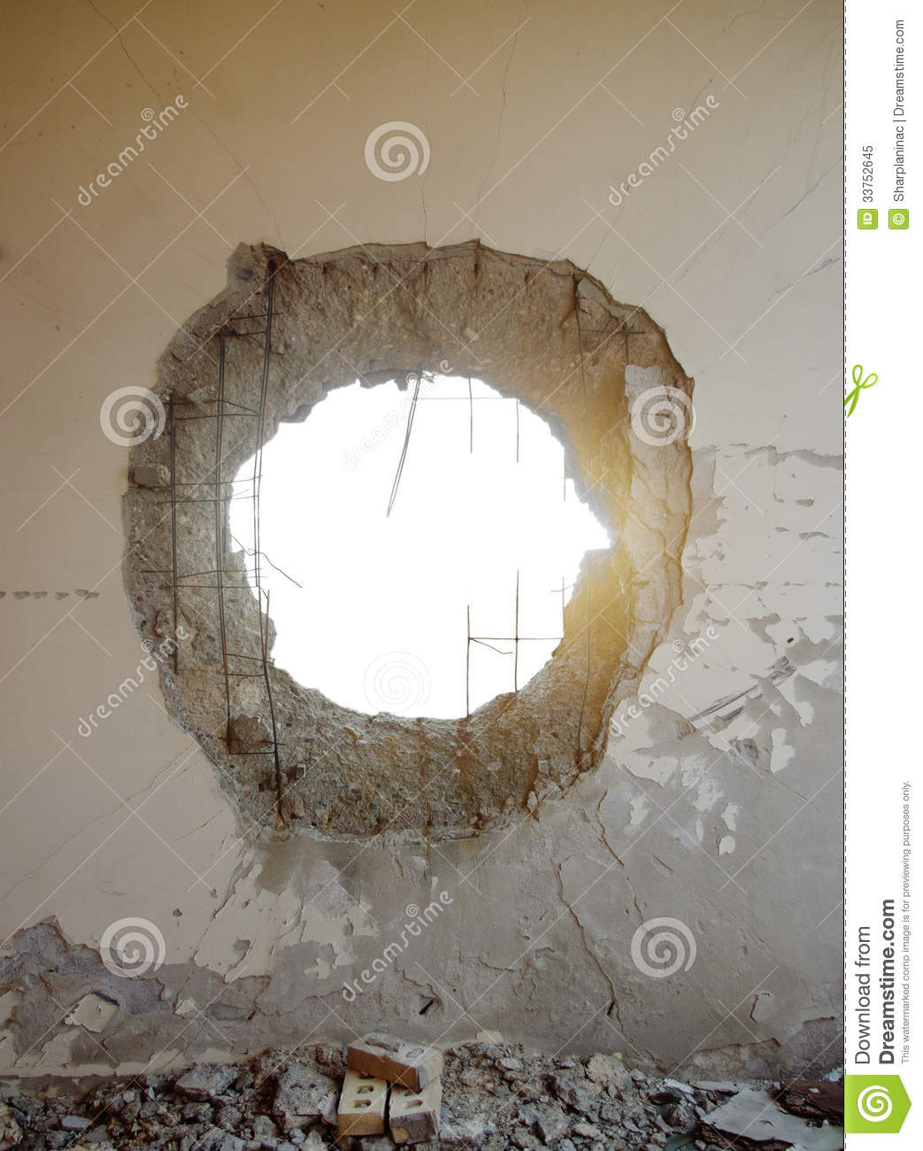 Tank Shell Impact Hole In The Wall Royalty Free Stock