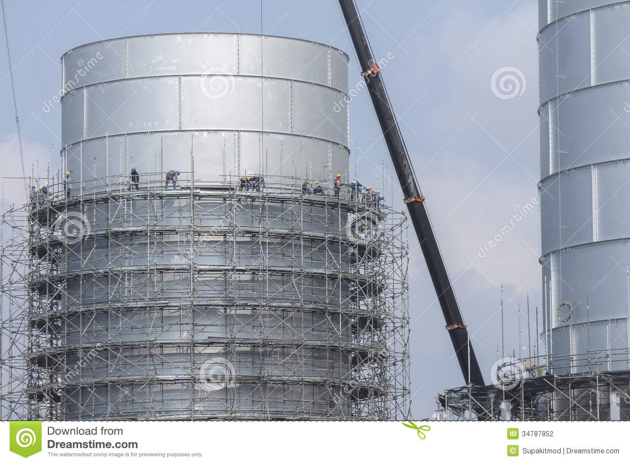 Scaffolding Structure Of Tank Storage In Industrial Factory
