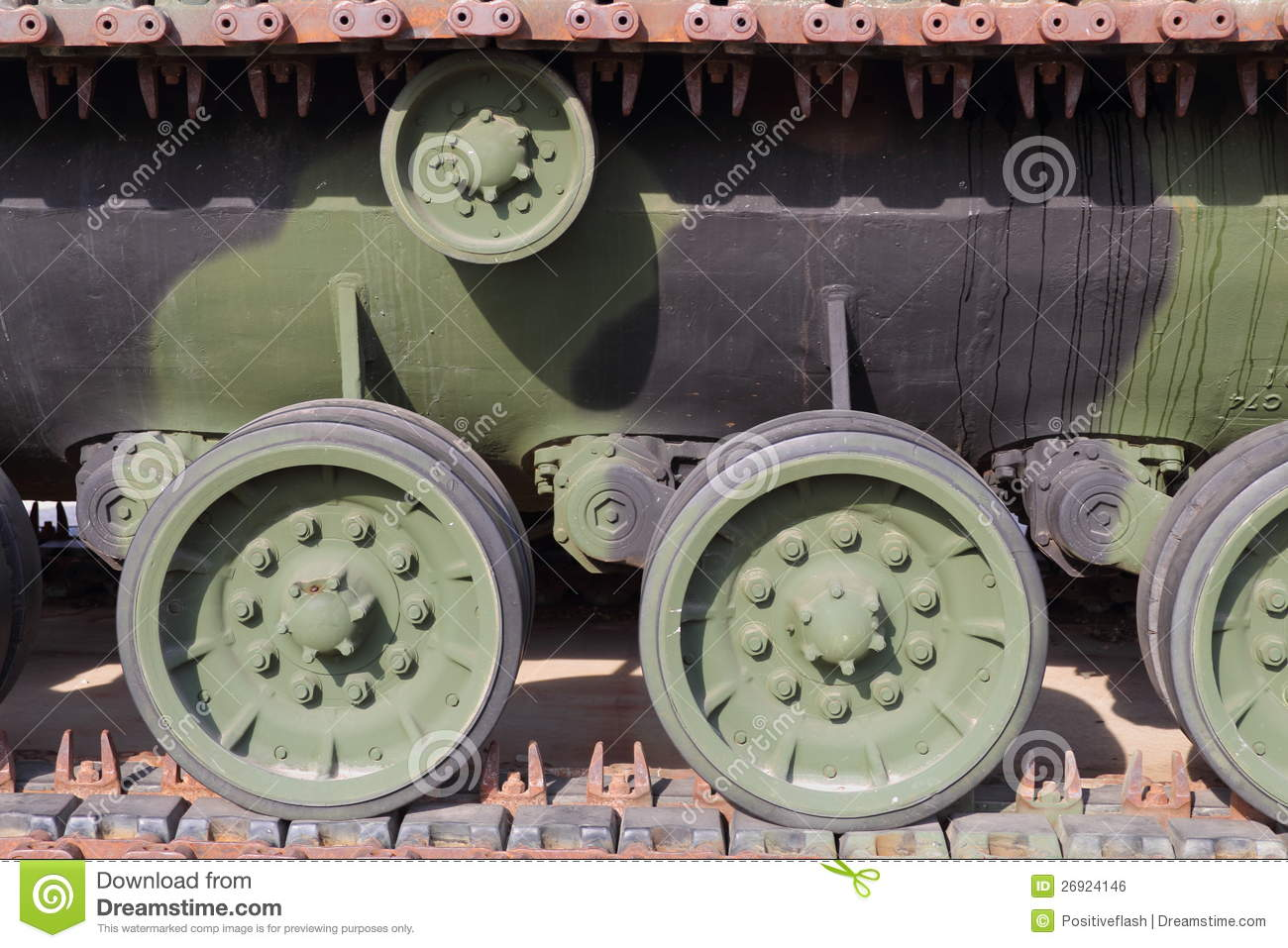View of tank tracks and associated drive wheels mr no pr no 0 720 0