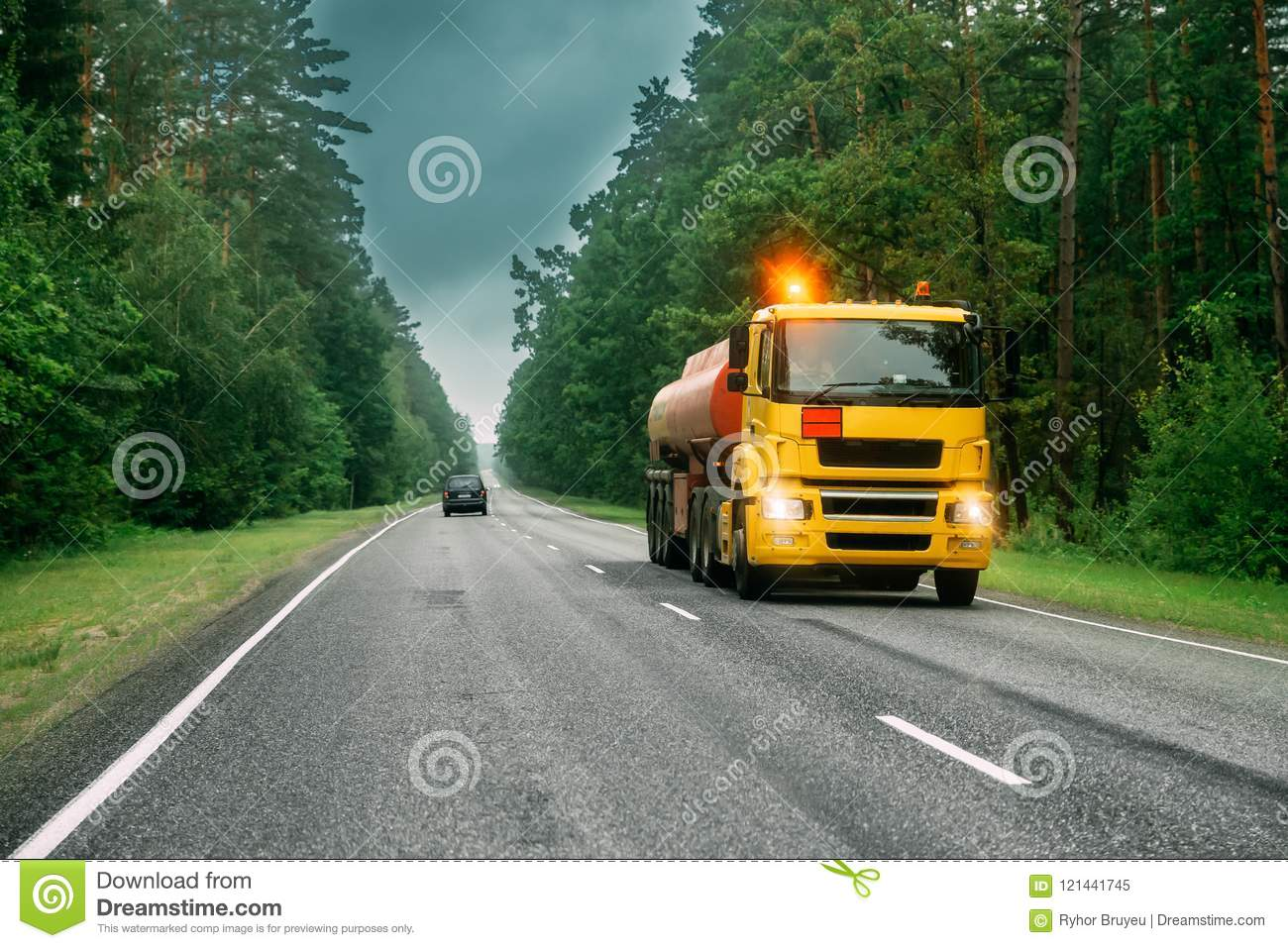 Tank Truck Or Tanker Truck, Transporting Gasoline On Country Road