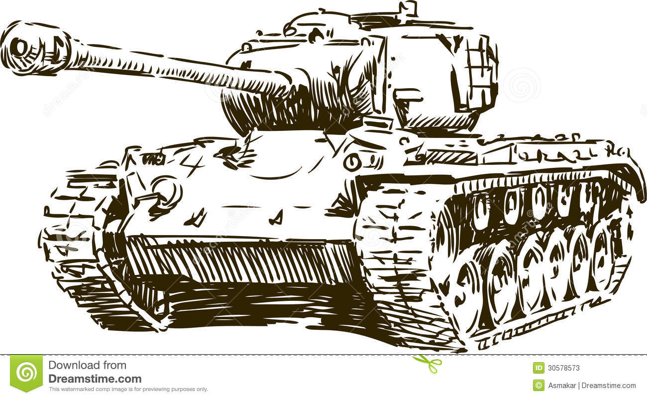 Vector image of a sketch of the old tank.