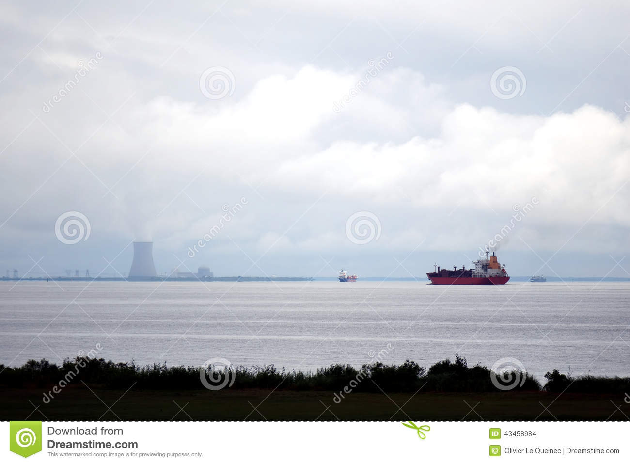 Tanker And Cargo Ships Sail By Nuclear Power Plant Stock ...