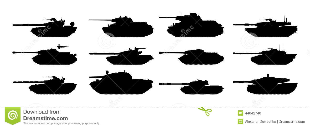 tanks silhouettes set stock vector image 44642740
