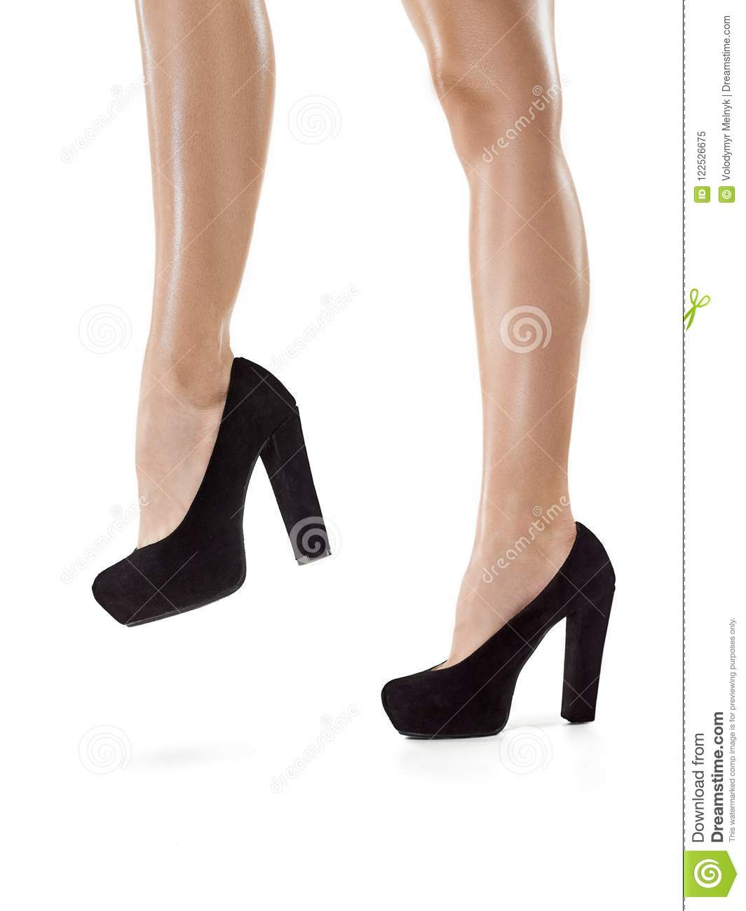 23dbb67a7fbfc7 Tanned female legs in high heels isolated on white background stock jpg  1064x1300 Tanned heels