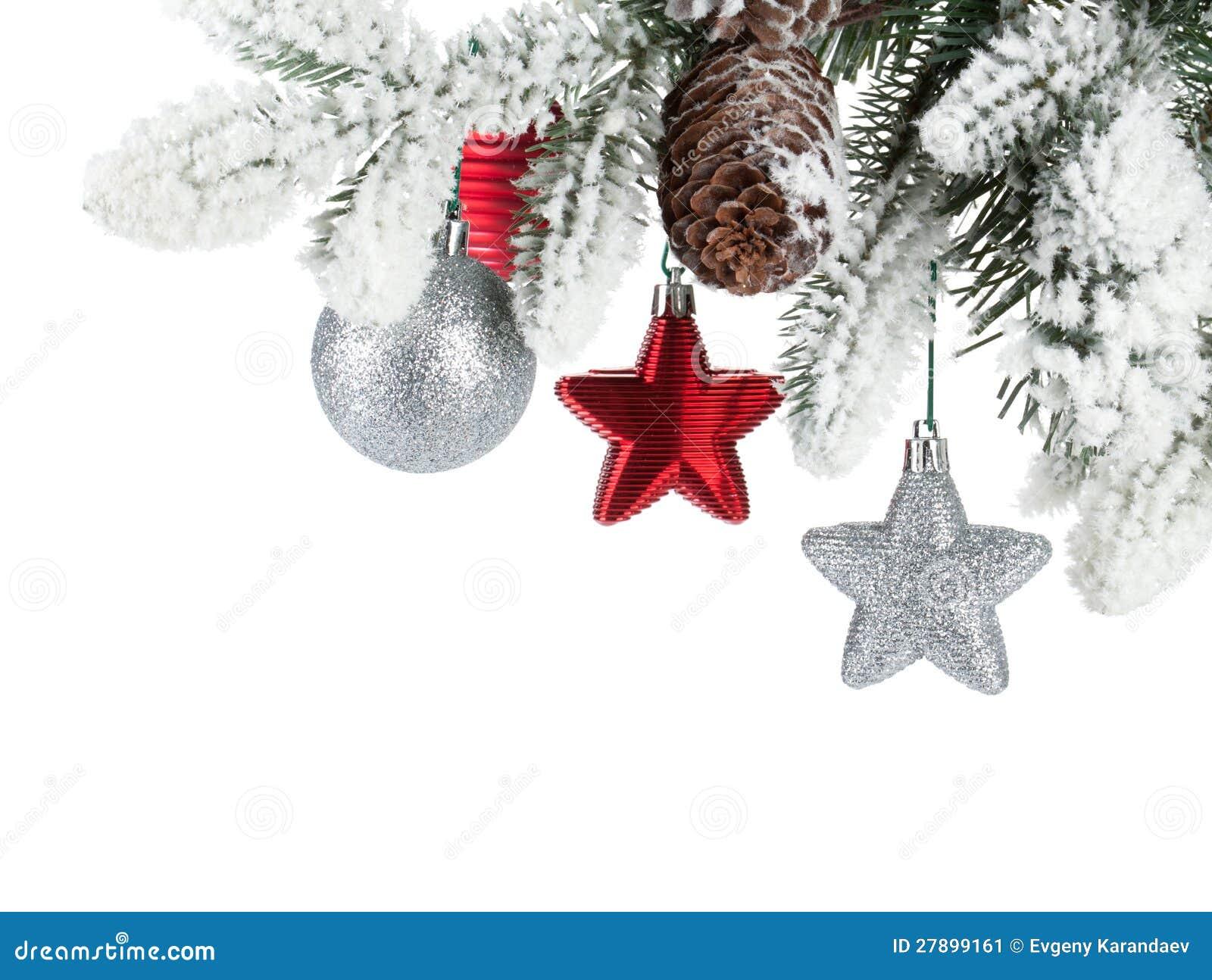 Tannenbaumzweig Mit Weihnachtsdekor Stockbild - Bild von flitter ...