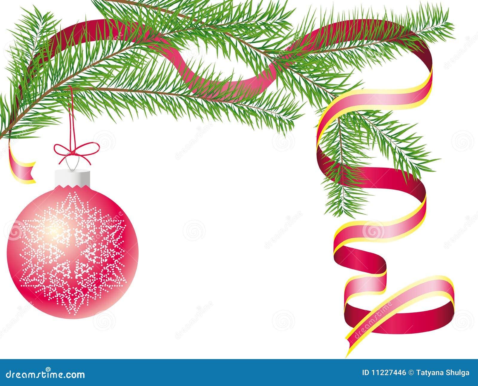 tannenzweig mit einer weihnachtskugel und einem roten. Black Bedroom Furniture Sets. Home Design Ideas