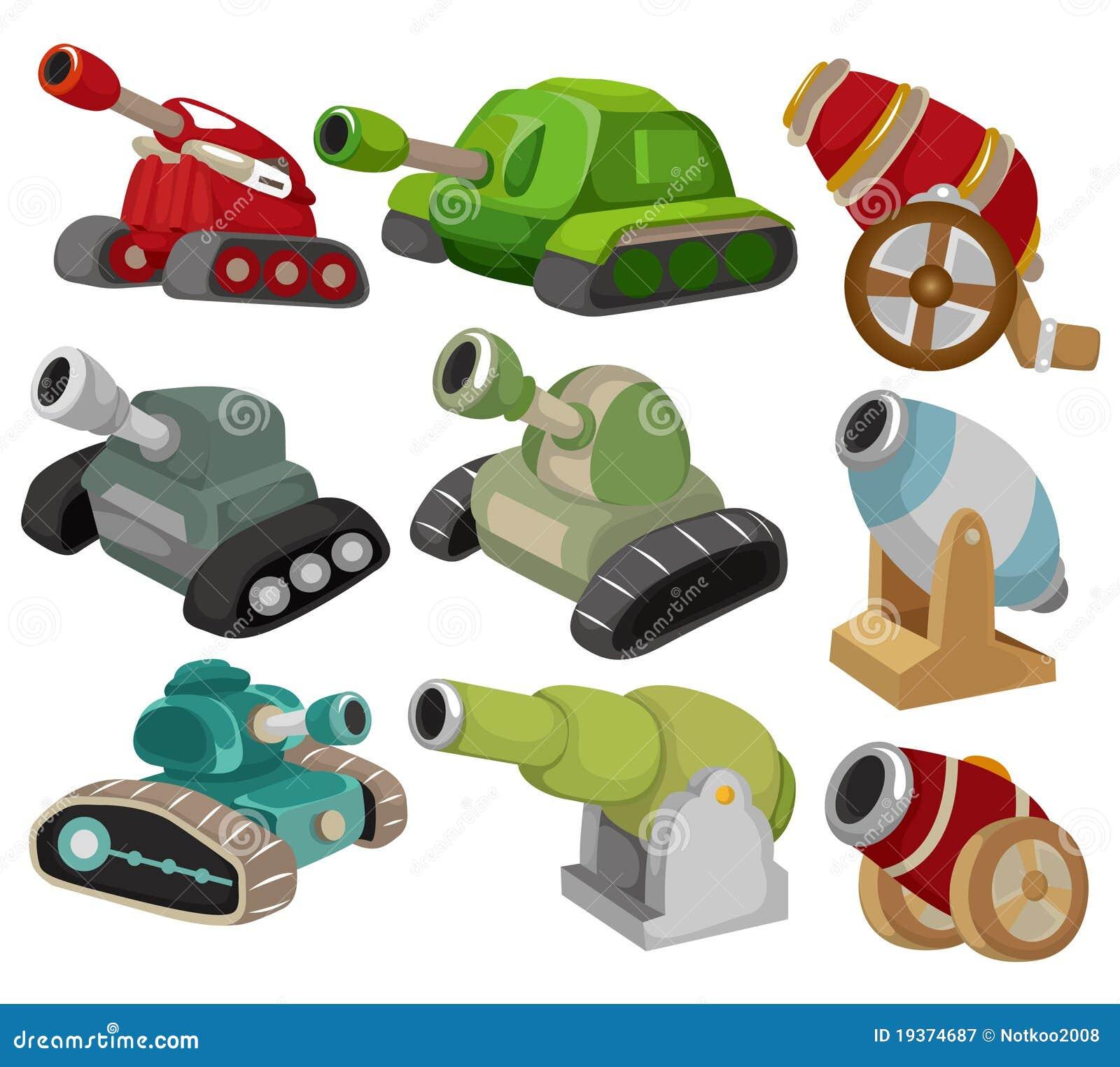 Tanque dos desenhos animados/ícone ajustado arma do canhão