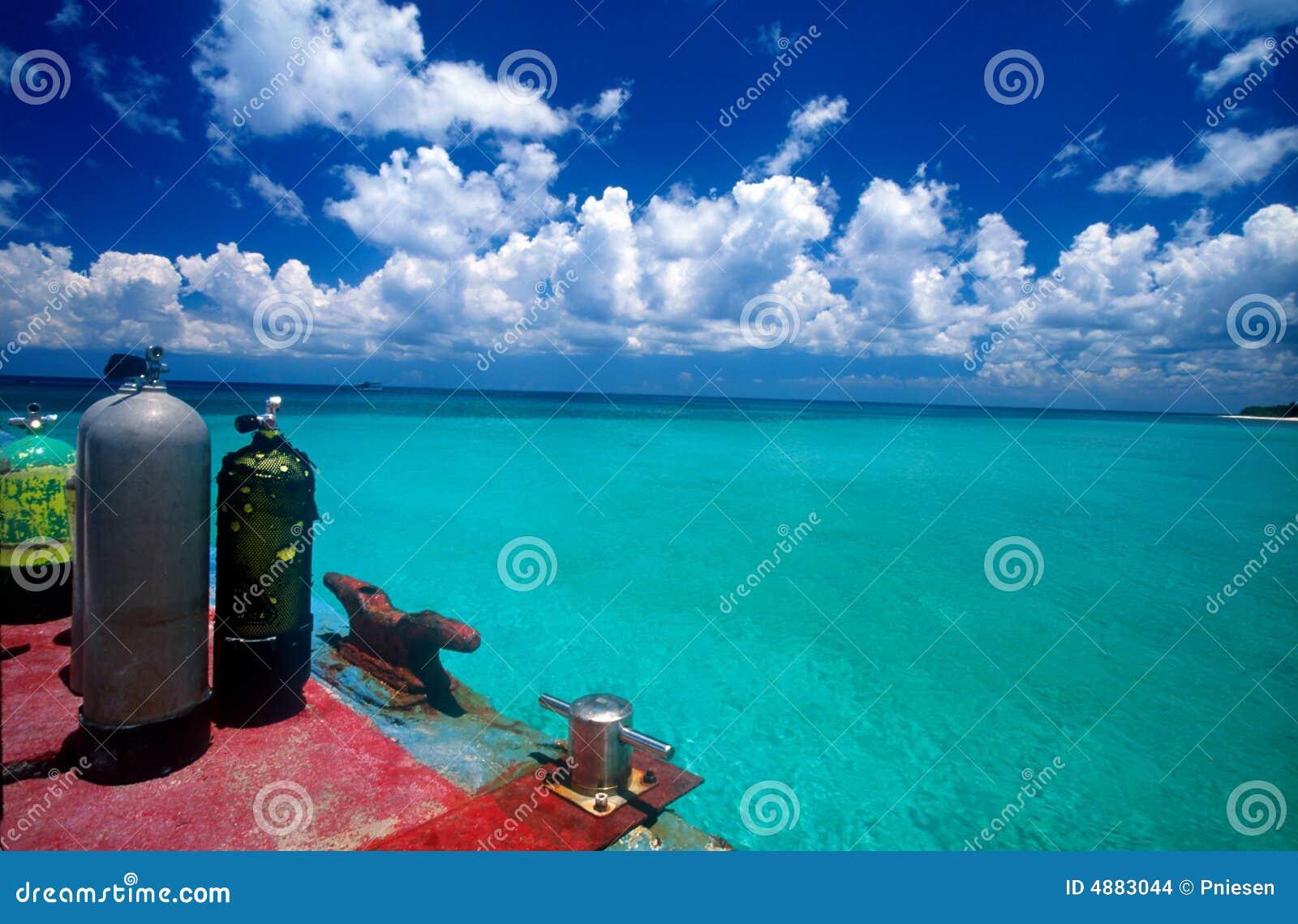 Tanques do mergulhador pelo mar